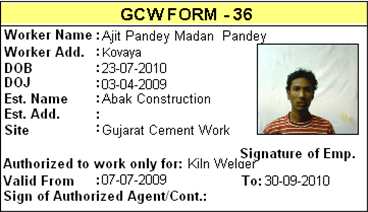 I-Card Sample (As per form 36 norms), Labour Productivity Management Software